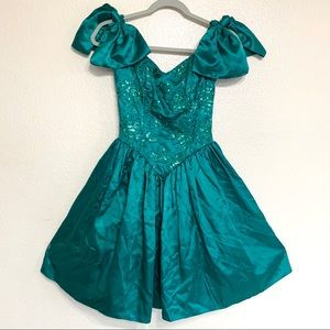 Vintage Gunne Sax 80s Sequin Teal Prom Dress